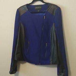 Royal blue and Black Pleather Moto Jacket